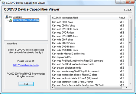 CD/DVD Capabilities Viewer