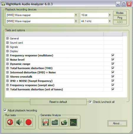 RightMark Audio Analyzer (RMAA)